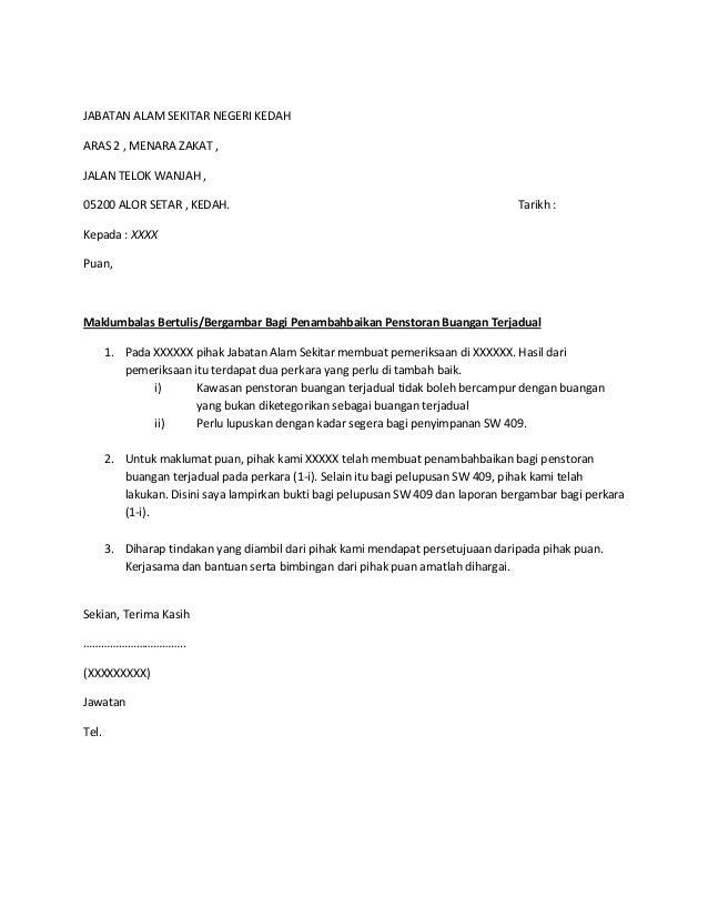 surat kepada doe schedule waste