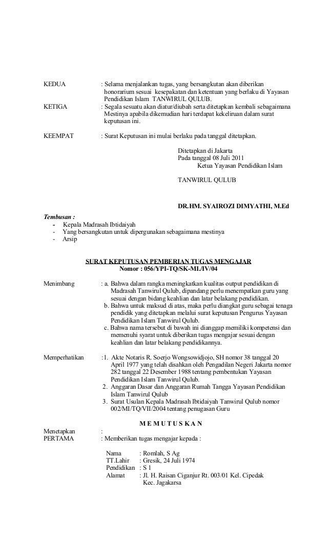 Surat Keputusan Pemberian Tugas Mengajar