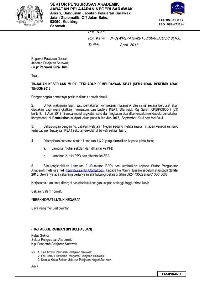 Surat Kesediaan Murid Terhadap Pembudayaan Kbat K Ppd 1