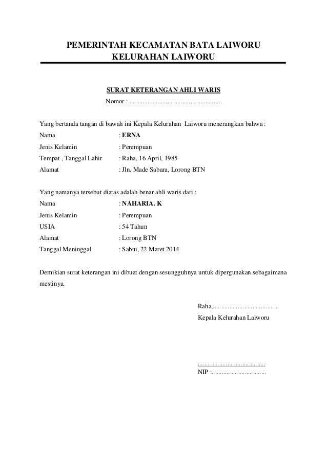 Gratis Contoh Surat Pernyataan Ahli Waris Herezfil