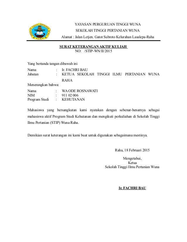 Surat Keterangan Aktif Kuliah Stip