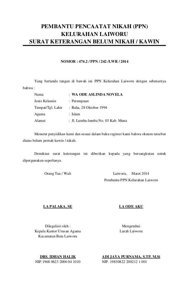 Surat Keterangan Belum Menikah 2