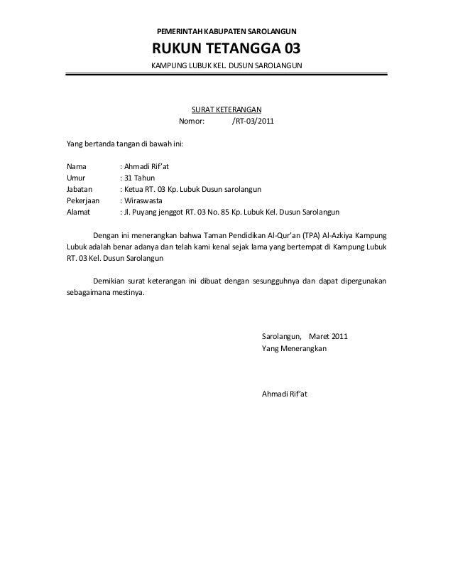 Surat Keterangan Dari Rt 03