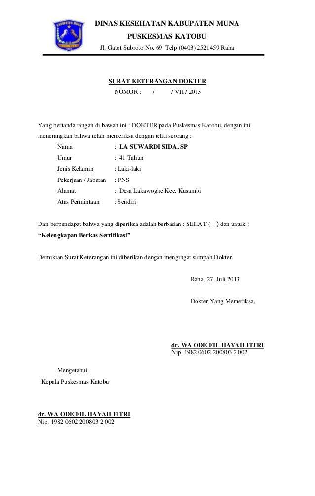 DINAS KESEHATAN KABUPATEN MUNA PUSKESMAS KATOBU Jl. Gatot Subroto No. 69 Telp (0403) 2521459 Raha  SURAT KETERANGAN DOKTER...