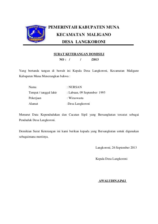 Contoh Surat Keterangan Domisili Tempat Tinggal Dari Rt Top Surat Terbaru