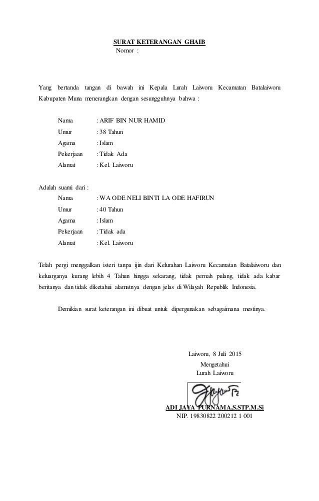 Contoh Surat Keterangan Cerai Dari Kepala Desa | kumpulan ...