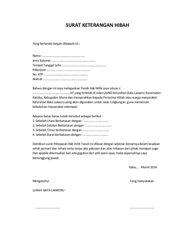 Contoh Surat Pelepasan Hak Tanah
