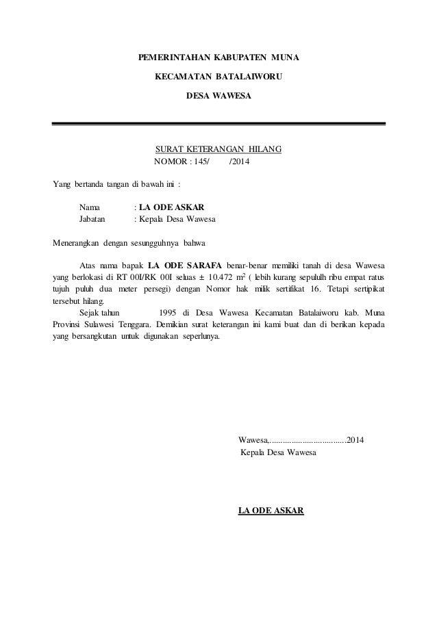 Contoh Surat Pernyataan Kehilangan Faktur Tagihan Surat 26