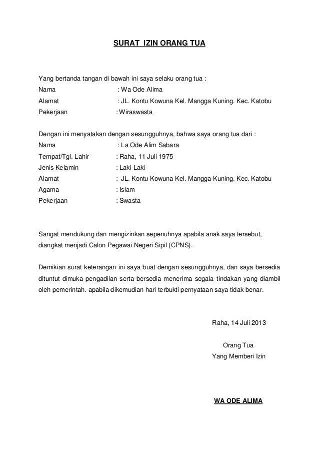 Surat Keterangan Izin Orang Tua