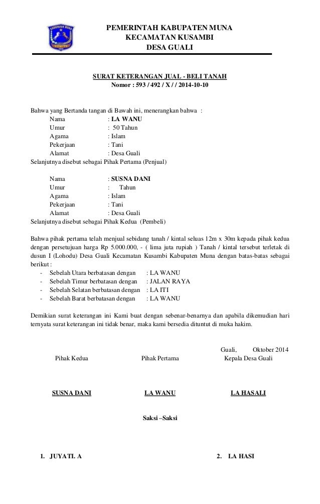 Surat Keterangan Jual Beli Tanah Desa Guali