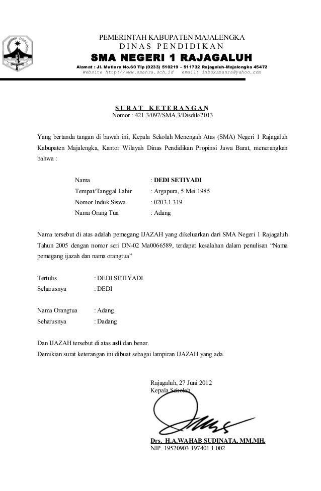 Contoh Surat Pernyataan Doc - Contoh Daur