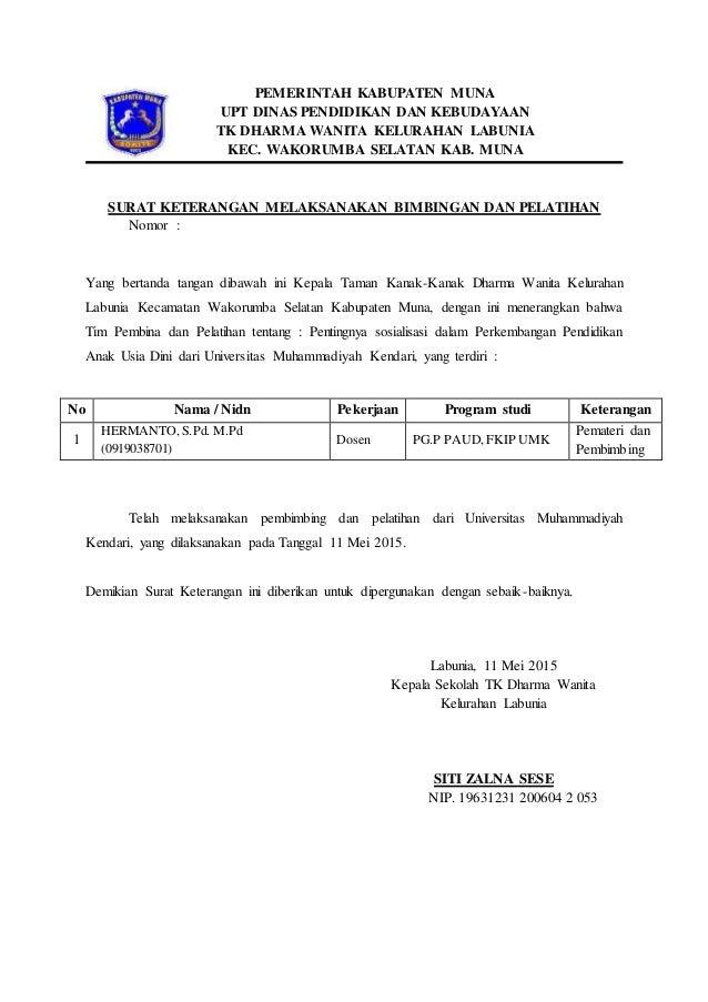 surat keterangan melaksanakan bimbingan dan pelatihan