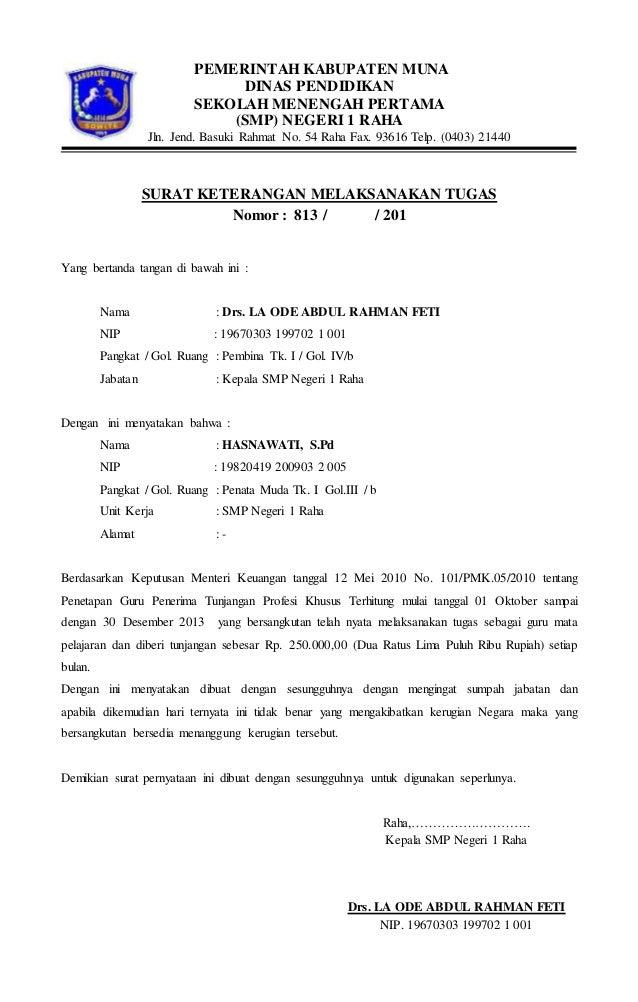 Surat keterangan melaksanakan tugas lia