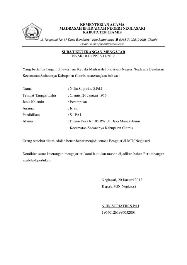 KEMENTERIAN AGAMA                         MADRASAH IBTIDAIYAH NEGERI NEGLASARI                                  KABUPATEN ...