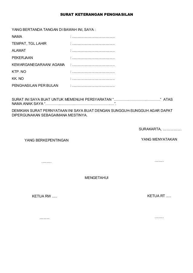 Contoh Surat Keterangan Penghasilan
