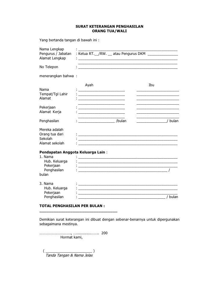 Surat Keterangan Penghasilan Ortu