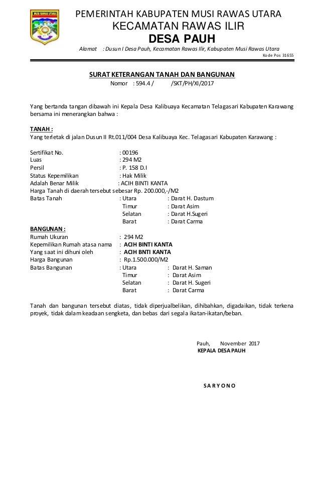 Surat keterangan tanah dan bangunan