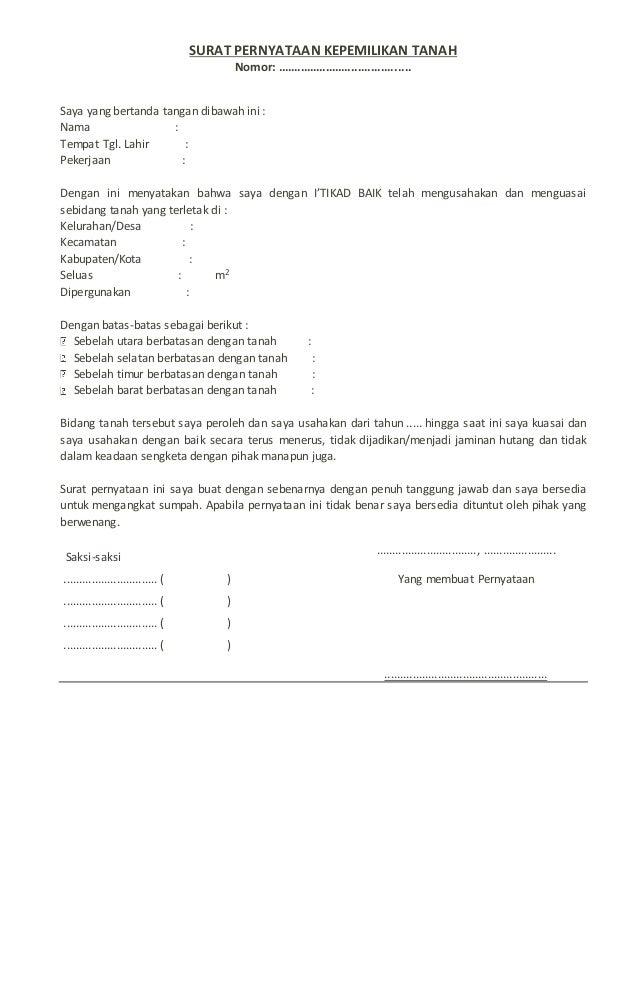 Contoh Surat Pernyataan Hak Milik Tanah - Besar