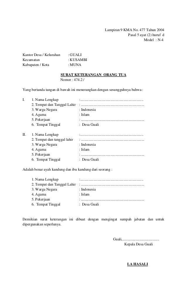Surat keterangan untuk nikah kusambi
