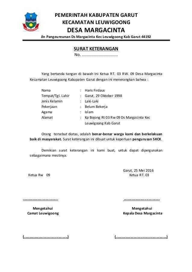 Surat Keterangan Untuk Pembuatan Skck Dari Rt Rw