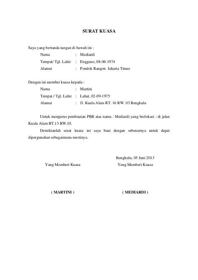 Contoh Surat Kuasa Pengurusan Imb