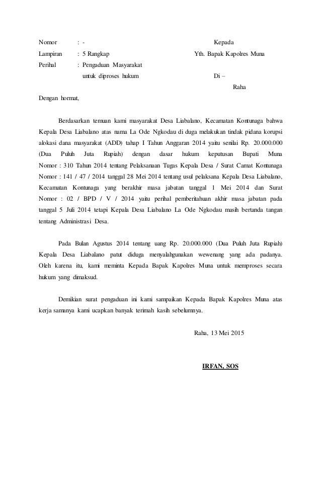 Contoh Surat Pengaduan Masyarakat Ke Bupati Contoh Seputar Surat