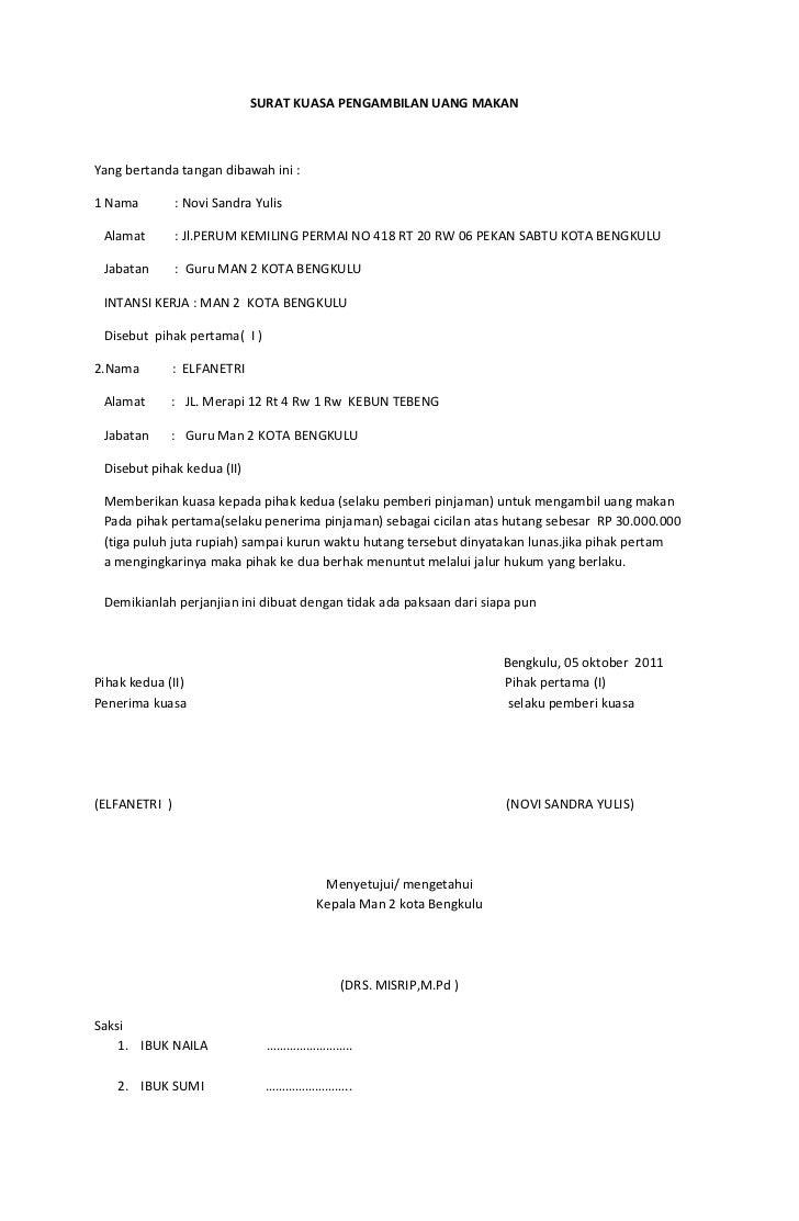Surat kuasa pengambilan uang makan