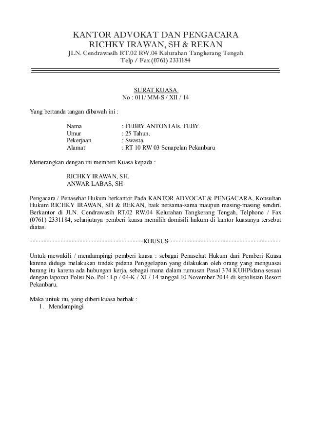 Contoh Surat Kuasa Laporan Polisi