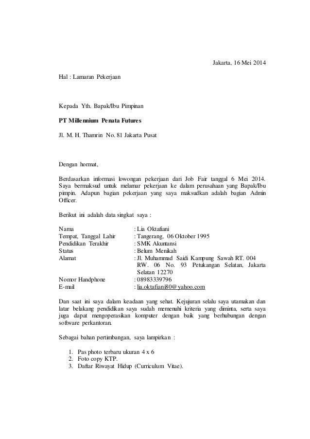 Contoh surat lamaran contoh surat lamaran jakarta 16 mei 2014 hal lamaran pekerjaan kepada yth bapakibu pimpinan thecheapjerseys Images