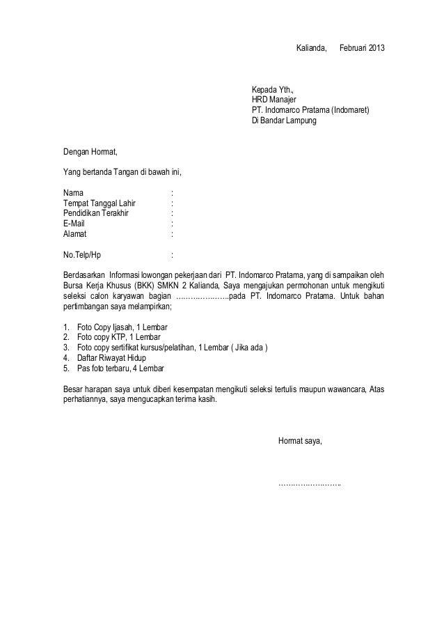 Surat Lamaran Bkk
