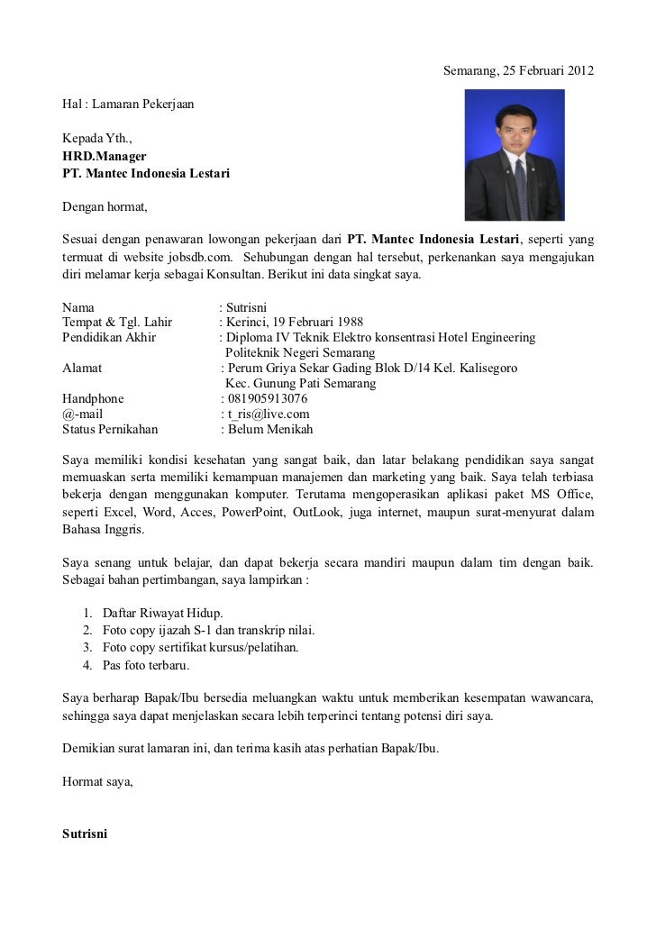 Surat Lamaran Cv Surat Kelengkapan Lainnya