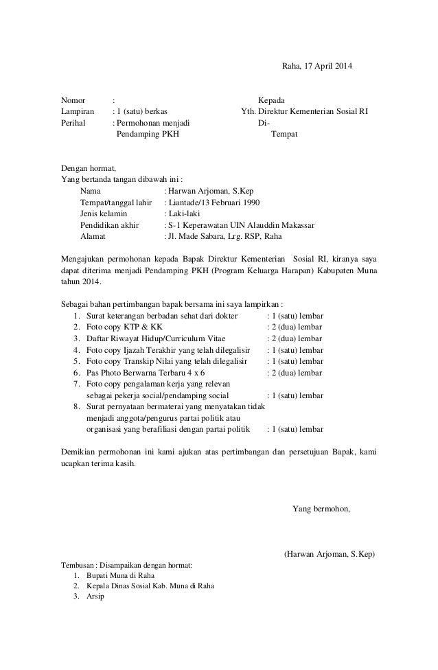 Raha, 17 April 2014 Nomor : Kepada Lampiran : 1 (satu) berkas Yth. Direktur Kementerian Sosial RI Perihal : Permohonan men...