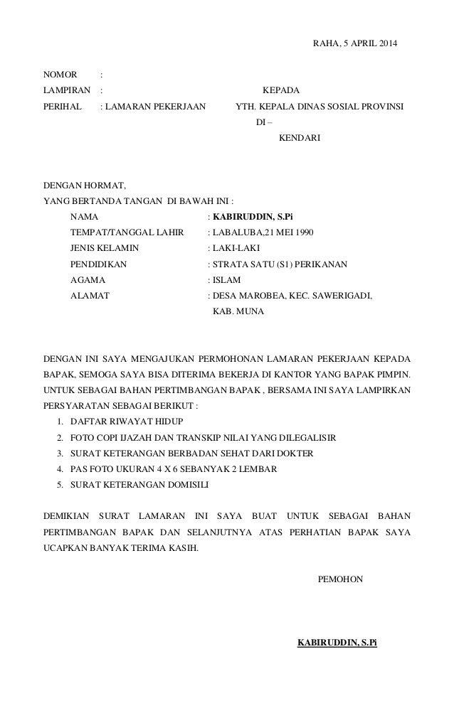 Contoh Surat Lamaran Pekerjaan Dinas Sosial