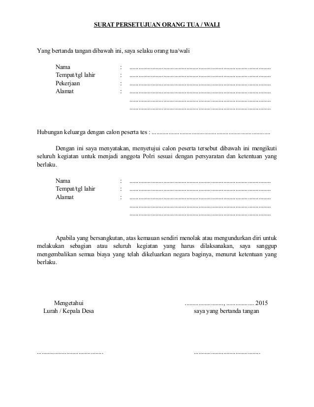 Contoh Surat Izin Orang Tua Untuk Lamaran Kerja