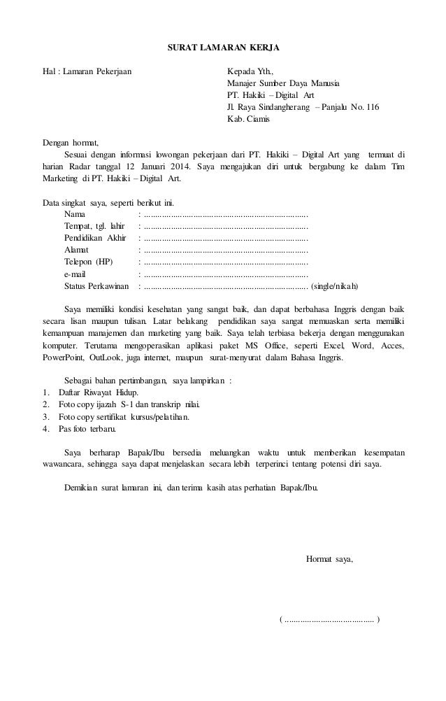 Contoh Surat Lamaran Kerja Office Boy - Disclosing The Mind