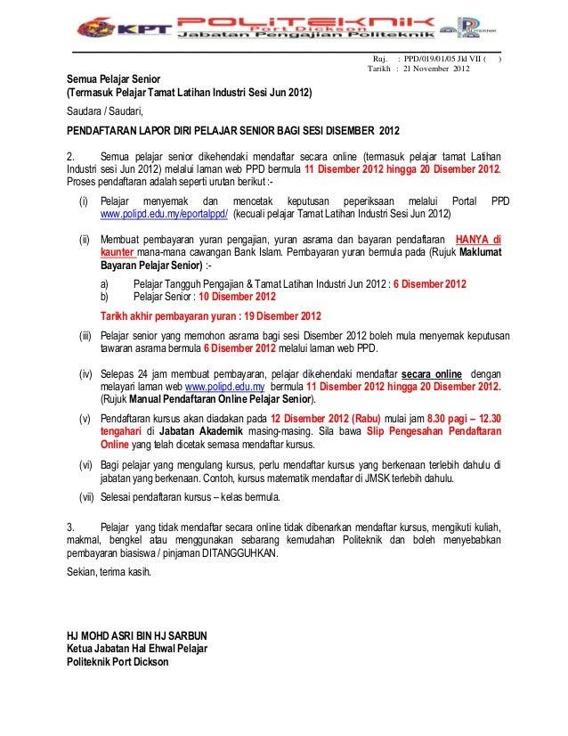 Surat Lapor Diri Pelajar Senior Dis 2012 Spmp