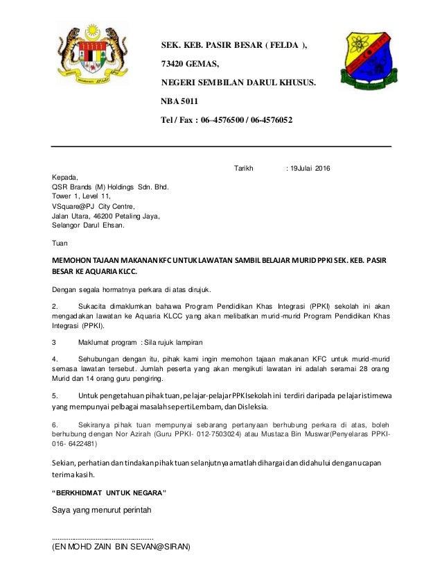 Surat Mohon Sumbangan Kfc