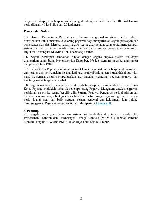 Surat Pekeliling Am Bil 11 Tahun 1981 Perakam Waktu