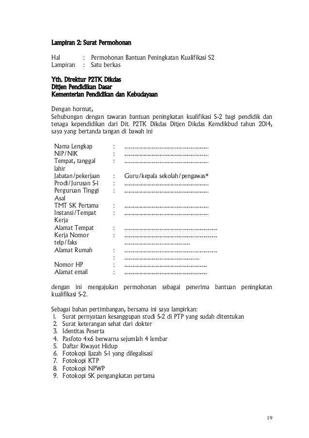Surat pemberitahuan dan pedoman beasiswa s2 smp