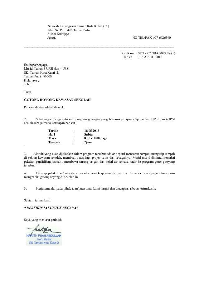 Contoh Surat Rasmi Gotong Royong Surat Rasmi E
