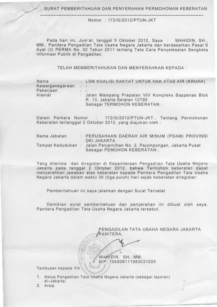 Surat Pemberitahuan Keberatan Pdam Ptun