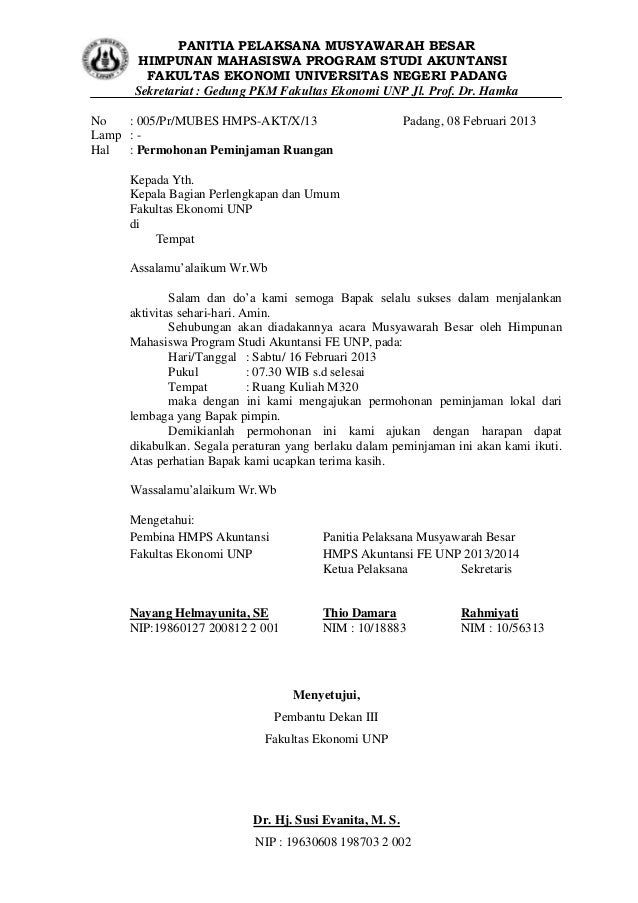 Surat peminjaman tempat mubes