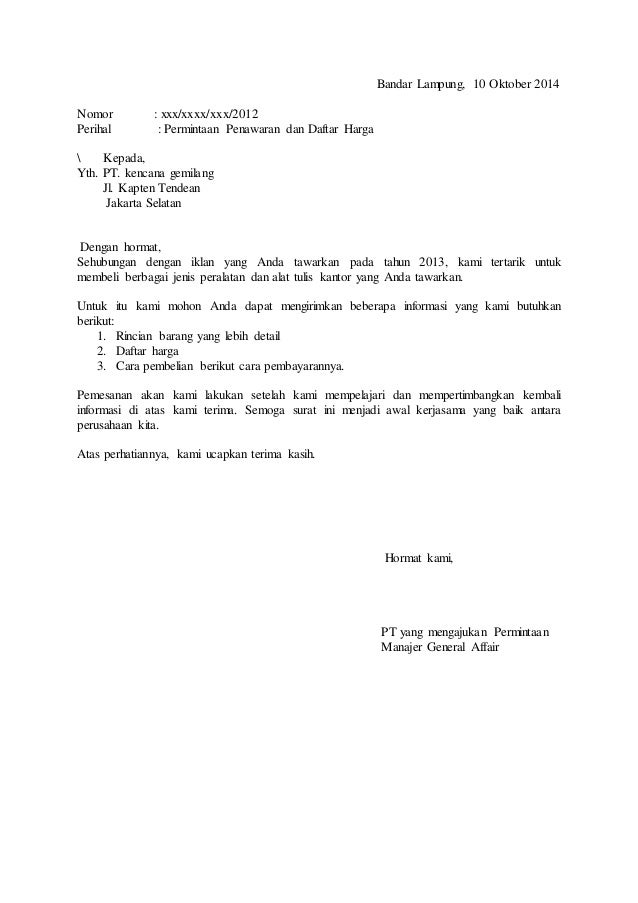 Contoh Surat Penawaran Barang Perabot Kantor