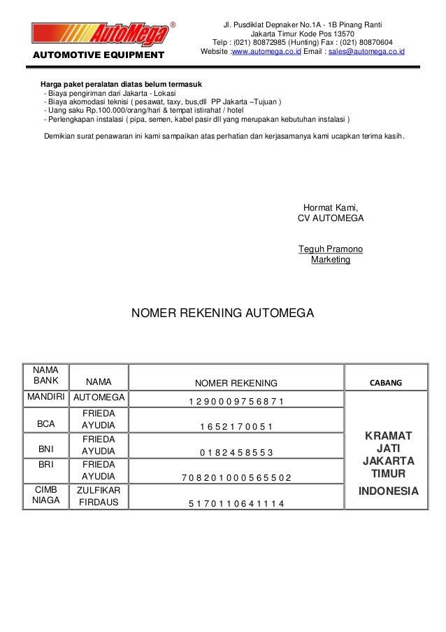 Surat penawaran 5 hidrolik motor ibu martha