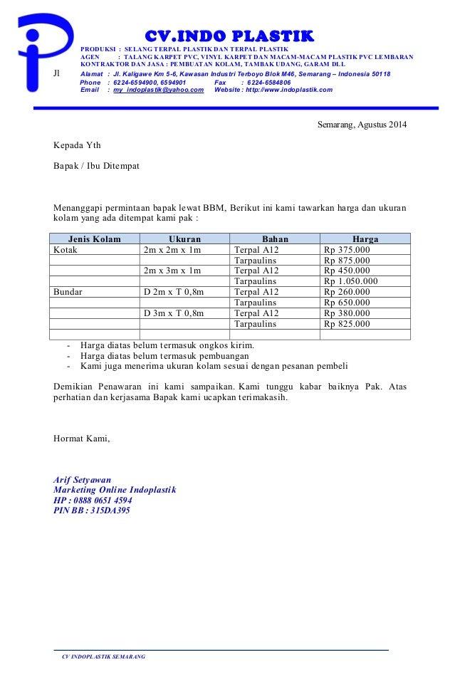 Surat penawaran kolam