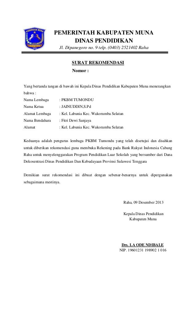 Surat Pengantar Kabupaten Muna