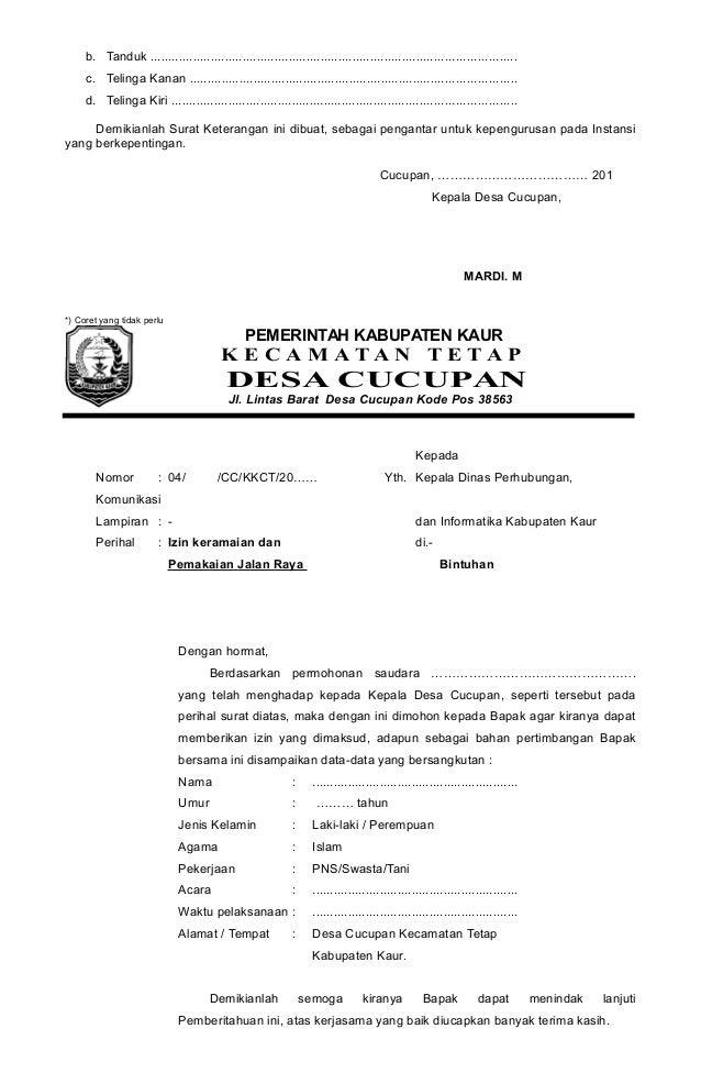contoh surat pengantar kepala desa cucupan
