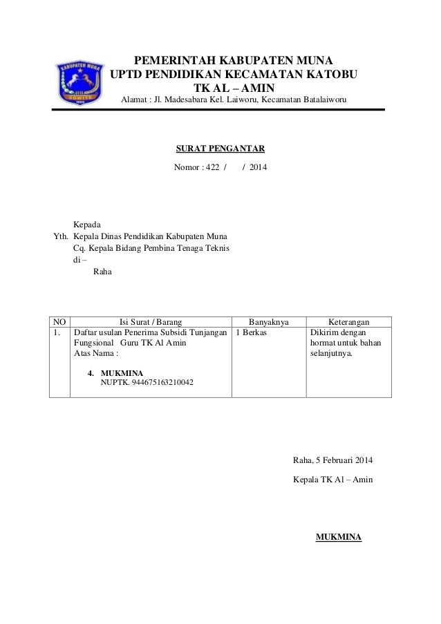 Contoh Surat Pengantar Ke Dinas Pendidikan