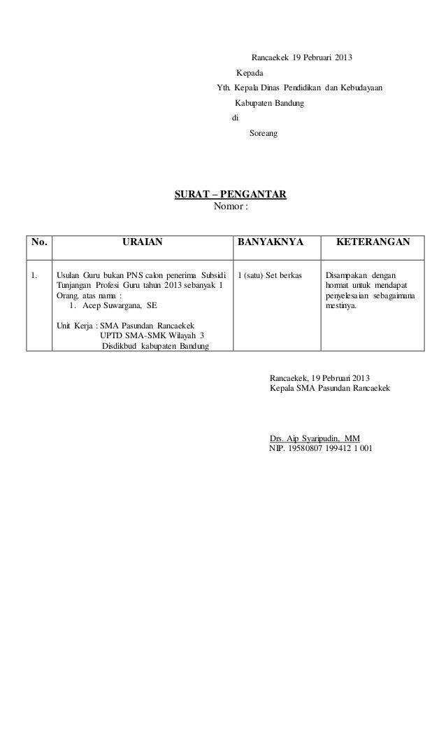 Contoh Surat Pengantar Dari Kepala Sekolah Ke Dinas ...