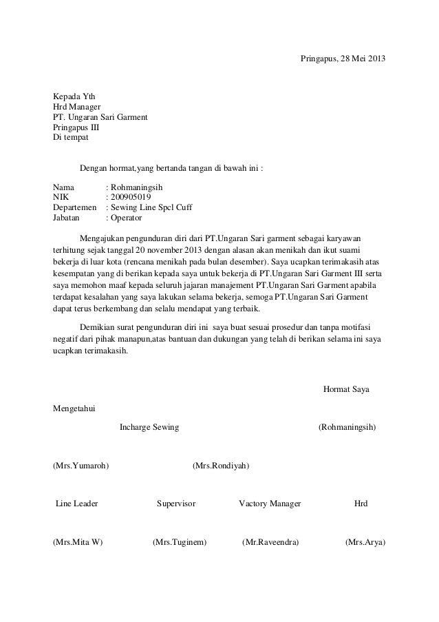 Contoh Surat Pengunduran Diri Pensiun Dini Uinatoh